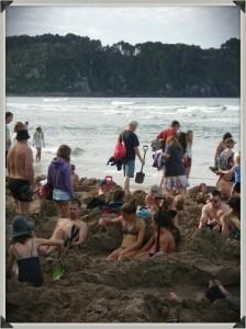 Trous à Hot Water Beach