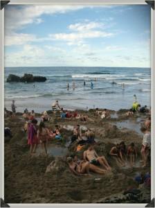 Baignade à Hot Water Beach