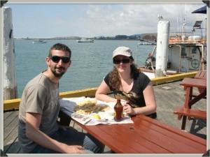 fish and chips avec vue sur l'océan pacifique