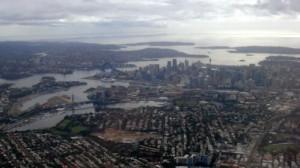 Auckland vue du ciel à notre arrivée en Nouvelle-Zélande
